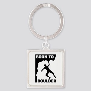 Born to Boulder Square Keychain