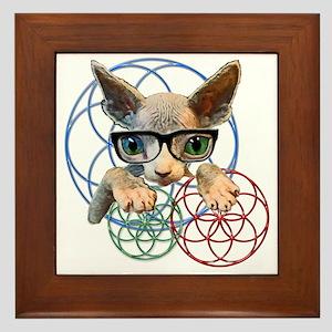 Sphynx kitty sacred geometry Framed Tile