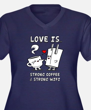 Strong Coffee and Strong WiFi Plus Size T-Shirt
