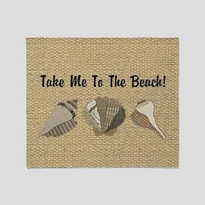 Take Me To The Beach Seashells to Cu Throw Blanket
