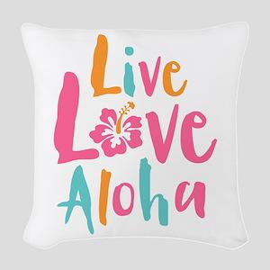 Live Love Aloha 2 Woven Throw Pillow