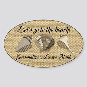 Lets Go To The Beach Personalized S Sticker (Oval)