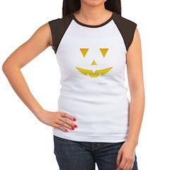 Smiley Pumpkin Face Women's Cap Sleeve T-Shirt