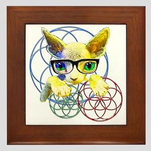 Sphynx kitty sacred geometry 2 Framed Tile