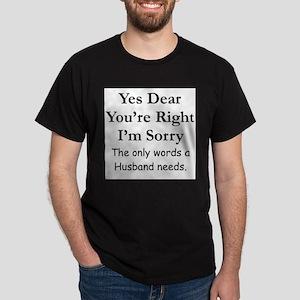 Yes Dear Husband's Words Ash Grey T-Shirt