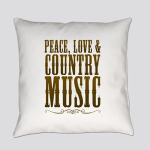 Peace Love Country Music Everyday Pillow