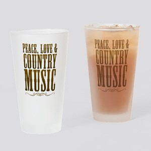 Peace Love Country Music Drinking Glass