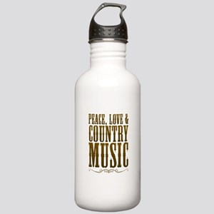 Peace Love Country Music Water Bottle