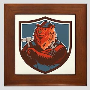 Russian Bear Builder Handyman Crest Woodcut Framed