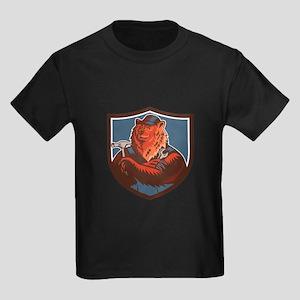 Russian Bear Builder Handyman Crest Woodcut T-Shir