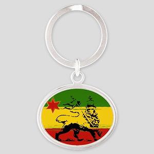 Rasta Lion Of Judah Oval Keychains