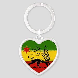 Rasta Lion Of Judah Heart Keychains