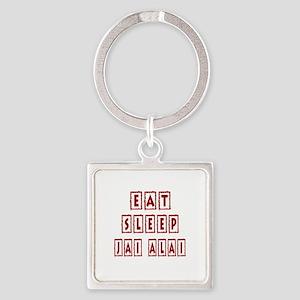 Eat Sleep Jai Alai Square Keychain