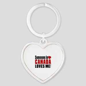 Someone In Canada Loves Me Heart Keychain