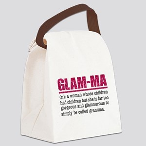 Faux Glitter Hot Pink Glam-Ma Canvas Lunch Bag