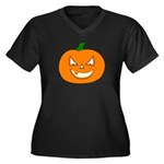 Jack-O-Lantern Women's Plus Size V-Neck Dark T-Sh