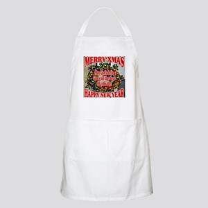Merry Xmas Wreath Virtually Lighted Light Apron