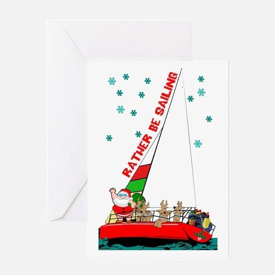 Santa Sailing Christmas Greeting Cards