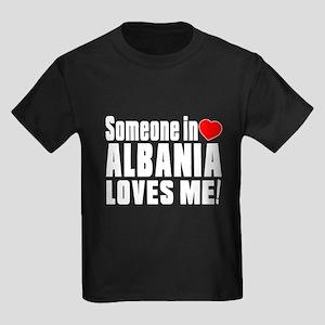 Someone In Albania Loves Me Kids Dark T-Shirt