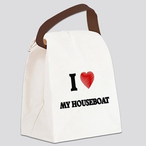 I Love My Houseboat Canvas Lunch Bag