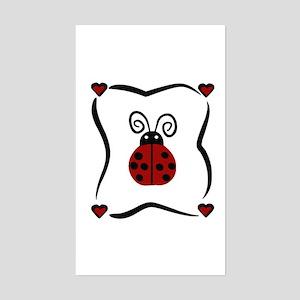 Ladybug Hearts Rectangle Sticker
