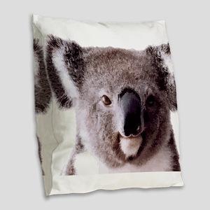 Large Happy Koala Bear Smiling Burlap Throw Pillow