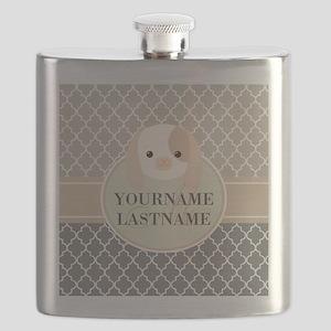 Gray Beige Quatrefoil Pattern Monogram Flask