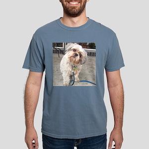 dog on leash at cafe T-Shirt