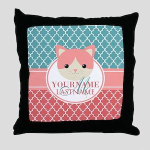 Teal Quatrefoil Pattern, Coral Monogr Throw Pillow