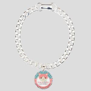 Teal Quatrefoil Pattern, Charm Bracelet, One Charm