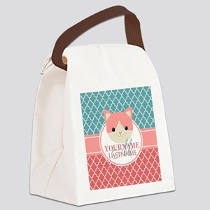Teal Quatrefoil Pattern, Coral Mo Canvas Lunch Bag
