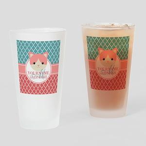 Teal Quatrefoil Pattern, Coral Mono Drinking Glass