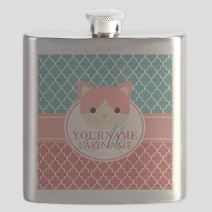 Teal Quatrefoil Pattern, Coral Monogram Flask