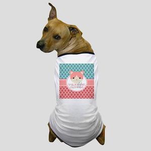 Teal Quatrefoil Pattern, Coral Monogra Dog T-Shirt