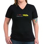 I Love Dump Trucks Women's V-Neck Dark T-Shirt