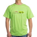 I Love Dump Trucks Green T-Shirt