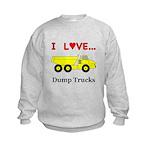 I Love Dump Trucks Kids Sweatshirt