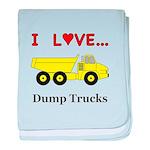 I Love Dump Trucks baby blanket