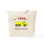 I Love Dump Trucks Tote Bag