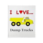I Love Dump Trucks Throw Blanket