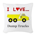 I Love Dump Trucks Woven Throw Pillow