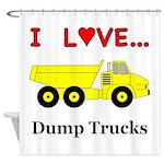 I Love Dump Trucks Shower Curtain