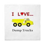 I Love Dump Trucks Queen Duvet
