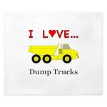 I Love Dump Trucks King Duvet