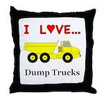 I Love Dump Trucks Throw Pillow