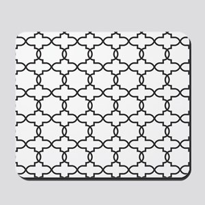 Moroccan Arabesque Black and White Trell Mousepad