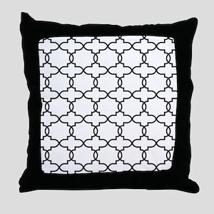 Moroccan Arabesque Black and White Tr Throw Pillow