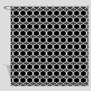 Bold Moroccan Arabesque Black, Grey Shower Curtain