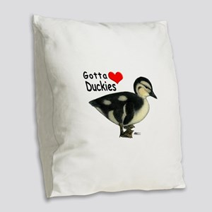 Gotta Love Duckies Burlap Throw Pillow