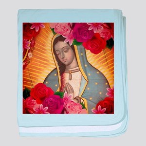 Virgin of Guadalupe with Roses baby blanket